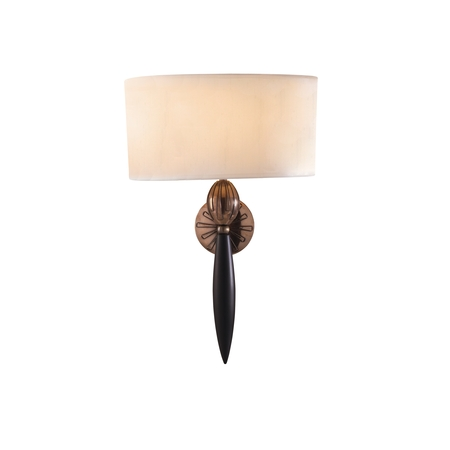 Contour Wall Light with White Silk Shade