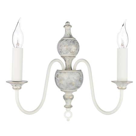Flemish Distressed Cream Double Wall Light