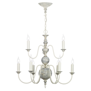 Flemish Distressed Cream 9 Light Pendant