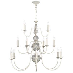 Flemish Distressed Cream 15 Light Pendant