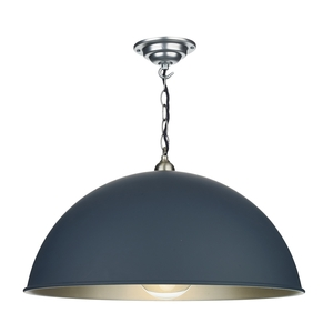 Ealing Small Smoke Blue and Brushed Chrome Pendant