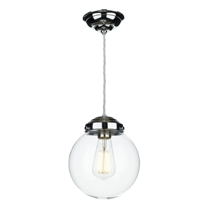 Fairfax Small Polished Chrome Clear Pendant