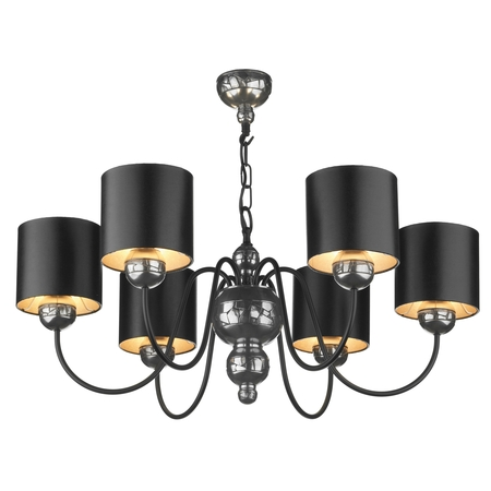 Garbo Pewter 6 Light Pendant with Black Silver Shades