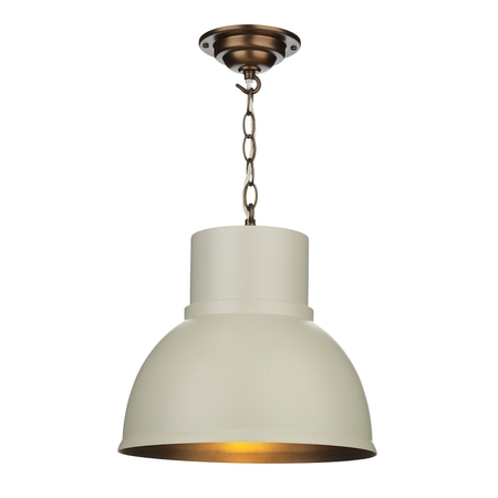 Shoreditch Small Cotswold Cream and Antique Brass Pendant