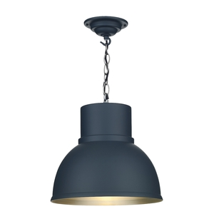 Shoreditch Small Smoke Blue and Brushed Chrome Pendant