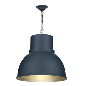 Shoreditch Large Smoke Blue and Brushed Chrome Pendant