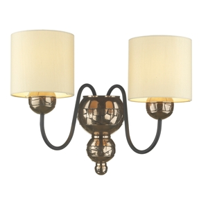 Garbo Bronze Double Wall Light with Cream Shades