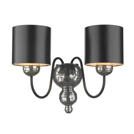 Garbo Pewter Double Wall Light with Black Silver Shades