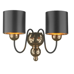 Garbo Bronze Double Wall Light with Black Bronze Shade