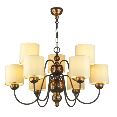 Garbo Bronze 9 Light Pendant with Cream Shades