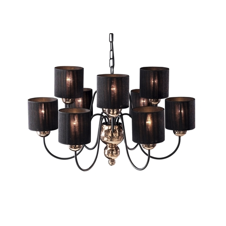 Garbo Bronze 9 Light Pendant with Black String Shades
