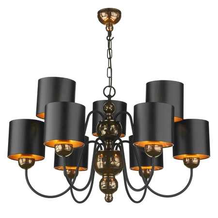 Garbo Bronze 9 Light Pendant with Black Bronze Shades