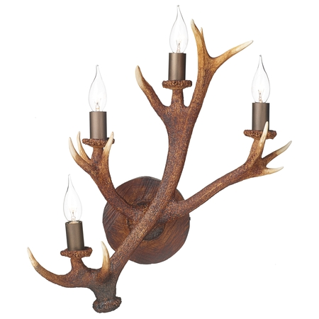 Antler Rustic 4 Light Wall Candelabra
