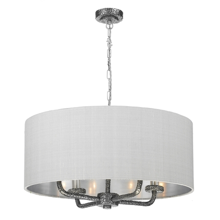 Sloane Pewter 4 Light Pendant with Bespoke Silk Shade