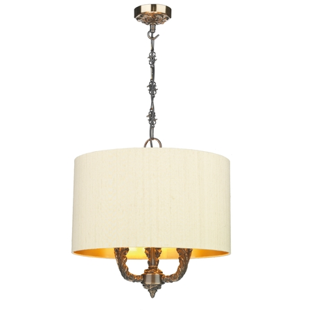 Valerio 3 Light Pendant with Bespoke Silk Shade