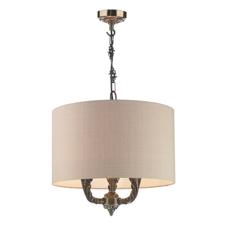 Valerio 3 Light Pendant with Taupe Silk Shade