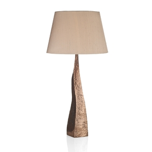 Aztec Hammered Copper Table Lamp with Silk Shade