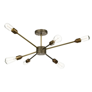 Aviator 6 Light Semi Flush Pendant