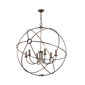 Orb 6 Light Pendant 900mm Ant Copper