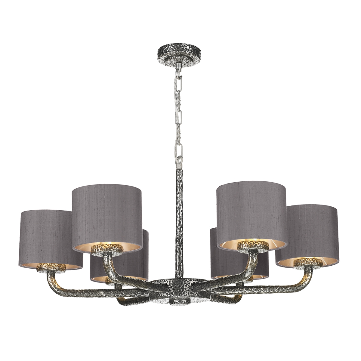 Sloane pewter 6 light pendant with bespoke silk shades arubaitofo Choice Image