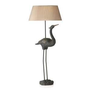 Bird Table Lamp with Taupe Silk Shade